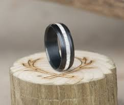 antler wedding ring treated black zirconium elk antler wedding band staghead