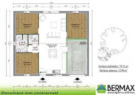 plan maison de plain pied 3 chambres delightful modele de facade de maison 16 plan maison plain pied 3