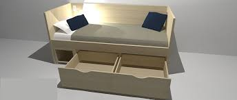 single bed contemporary integrated bedside table with