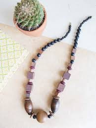wood beads necklace images Chunky multi color wood beaded necklace flea style jpg