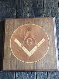 freemason wood wall plaque vintage masonic wood inlay wall