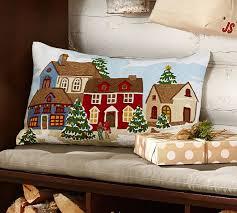Christmas Pillows Pottery Barn Winter Village Crewel Embroided Lumbar Pillow Cover Pottery Barn