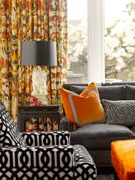 Bright Orange Curtains Orange Curtains Contemporary Living Room Elle Decor
