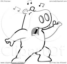 cartoon clipart of a black and white singing hippo with music