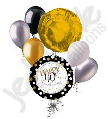 50th birthday balloon bouquets silver gold polka dots 40th birthday balloon bouquet products