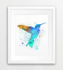 Hummingbird Watercolor Print Hummingbird Wall Art Bird