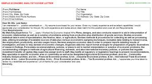 economic analyst cover letter