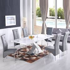 grey dining table set axara extendable dining table in white with 6 vesta grey