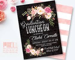 college grad invitations floral graduation invitation printable chalkboard graduation