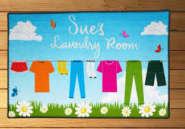 personalized laundry room rugs ideas with clothesline background