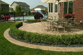Backyard Stamped Concrete Ideas Smaller Version W Shrubs For Front Biondo Cement Patios