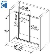 Shower Door Width 72 W X 76 H Sliding Shower Door Ultra C
