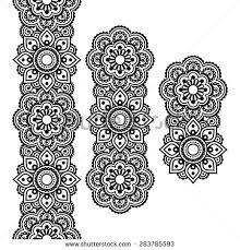 mehndi indian henna tattoo long pattern design elements stock