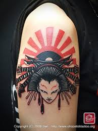 impressive detailed geisha with rising sun on shoulder