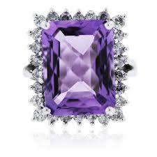 amethyst engagement rings 14 white gold large amethyst and diamond ring boca raton