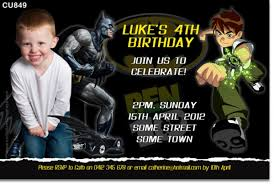 cu849 batman and ben 10 birthday invitation boys themed