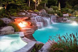 pool waterfall tags pools with waterfalls rustic backsplash