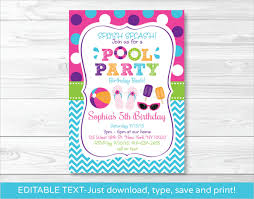 free printable pool party birthday invitations pool party