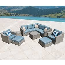 Outdoor Furniture Set Corvus Martinka Outdoor 11 Piece Grey Wicker Sectional Furniture