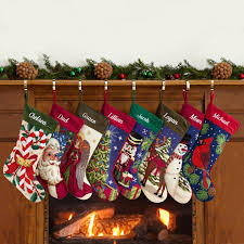 Christmas Stocking Decorations Accessories Personalized Needlepoint Christmas Stockings Plaid