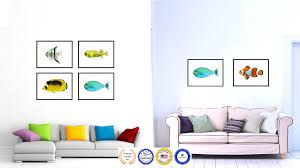 aqua tropical fish painting reproduction canvas print home decor