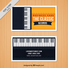 Business Card Music Business Card With A Piano For A Music Studio Vector Free Download
