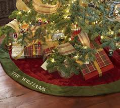 velvet tree skirt with green cuff pottery barn