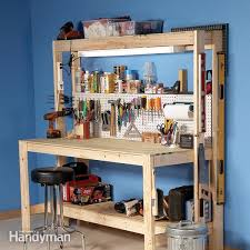 Best Wood To Build A Bookcase How To Build A Diy Workbench Super Simple 50 Bench Family Handyman