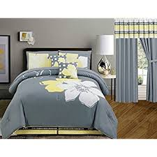 Yellow And Grey Bed Set Yellow Grey White Floral Bed In A Bag Size