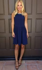 navy blue pearl trim neckline skater dress