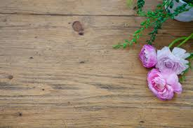 ivy and pink flowers on wood table nature photos creative market