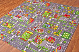 Kid Play Rug Small Colourful Play Rug City Road Car Town