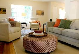 Using An Ottoman As A Coffee Table Geometric Pattern Ottoman Coffee Table In Updated Traditional Room