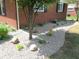 Rock Garden Beds River Rock Flower Beds Design Decoration