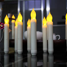 6pcs lot yellow flicker battery operated candles ivory white