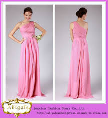 china high quality simple peach color sheath one shoulder pleated