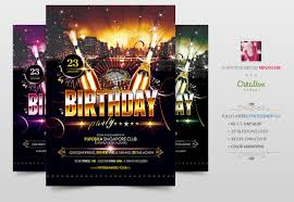 birthday party flyer poster flyer templates creative market