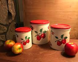 apple canisters for the kitchen retro canisters etsy