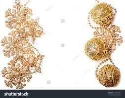 golden christmas decorations border frame gold stock photo