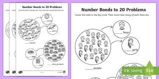 number bonds to 20 problems worksheet numbers bond worksheet
