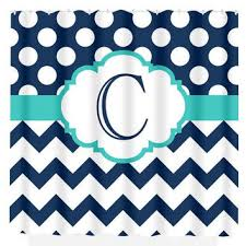 Navy And Coral Shower Curtain Personalized Chevron Shower Curtain On Wanelo