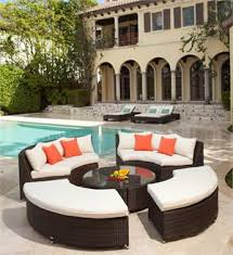 round wicker outdoor sectional