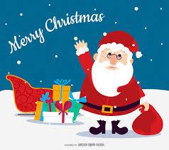 flat christmas santa with sleigh vector download