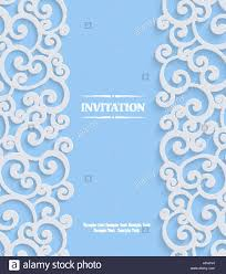 Background Invitation Card Blue 3d Swirl Wedding Or Invitation Card With Floral Curl Pattern