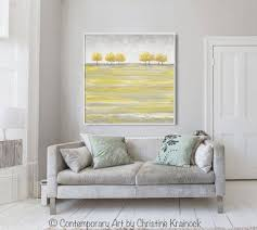 Contemporary Art Home Decor Original Art Abstract Painting Yellow Grey Gold Trees Home Wall