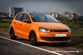 volkswagen polo black vw polo matte orange wrap with gloss black roof ide autoworks