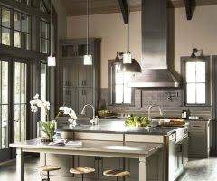 Transitional Pendant Lighting Kitchen - wonderful rustic counter height table with waterfall counters