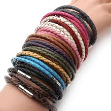 leather bracelet magnetic images Braided leather bracelet with magnetic clasps charm bracelet jpg