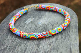 crochet necklace bead images Rainbow beaded rope necklace rope necklace bead crochet jpg