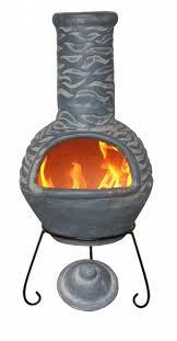 Extra Large Clay Chiminea Mexican Clay Chimenea Olas Blue Chiminea Patio Heater Fire Bowl